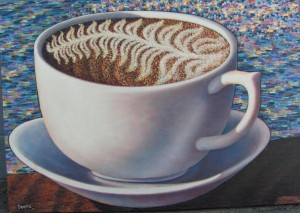 coffee cup done for for cafe hero (3'x4')